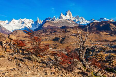 Fitz Roy mountain aerial view. Fitz Roy is a mountain located near El Chalten village in the Southern Patagonia on the border between Chile and Argentina.