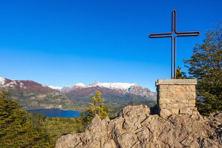 nahuel: Monument in Cerro Campanario viewpoint near Bariloche in Nahuel Huapi National Park, Patagonia region in Argentina.