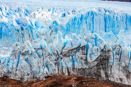 The Perito Moreno Glacier close up view. It is a glacier located in the Los Glaciares National Park in Santa Cruz Province in Patagonia, Argentina. Stock Photo