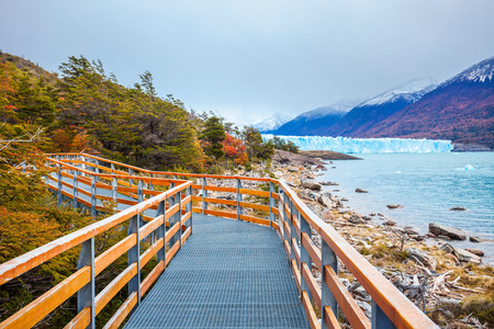Tourist route near the Perito Moreno Glacier in Patagonia, Argentina. Its one of the most important tourist attractions in the Argentinian Patagonia. Stock Photo