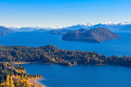 nahuel: Nahuel Huapi National Lake aerial view from the Cerro Campanario viewpoint in Bariloche, Patagonia region of Argentina.
