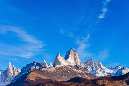 Monte Fitz Roy (also known as Cerro Chalten) aerial view. Fitz Roy is a mountain located near El Chalten, in the Southern Patagonia, on the border between Argentina and Chile.
