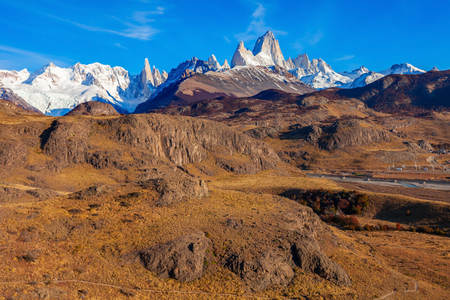 cerro fitzroy: Monte Fitz Roy (also known as Cerro Chalten) aerial view. Fitz Roy is a mountain located near El Chalten, in the Southern Patagonia, on the border between Argentina and Chile.