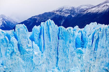 calafate: The Perito Moreno Glacier close up view. It is a glacier located in the Los Glaciares National Park in Santa Cruz Province in Patagonia, Argentina. Stock Photo