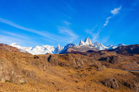 cerro chalten: Fitz Roy mountain panoramic view. Fitz Roy is a mountain located near El Chalten village in the Southern Patagonia on the border between Chile and Argentina.