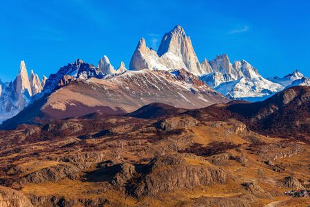 el chalten: Fitz Roy mountain aerial view. Fitz Roy is a mountain located near El Chalten village in the Southern Patagonia on the border between Chile and Argentina.