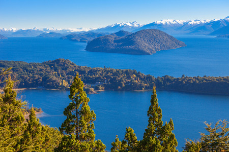 Nahuel Huapi National Lake aerial view from the Cerro Campanario viewpoint in Bariloche, Patagonia region of Argentina.