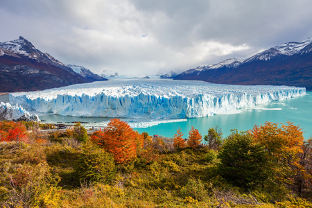 calafate: The Perito Moreno Glacier panoramic view. It is is a glacier located in the Los Glaciares National Park in Patagonia, Argentina.