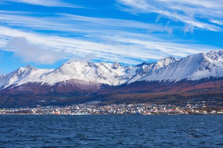 tierra: Ushuaia aerial view. Ushuaia is the capital of Tierra del Fuego province in Argentina. Stock Photo