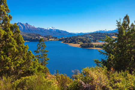 carlos: Nahuel Huapi National Park aerial view from the Cerro Campanario viewpoint in Bariloche, Patagonia region in Argentina. Stock Photo
