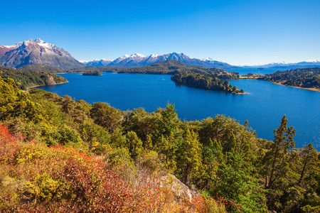 Lake in Nahuel Huapi National Park. It is located near the Bariloche city, Patagonia region in Argentina. Stock Photo