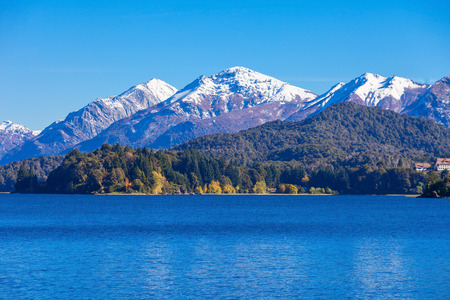 carlos: Tronador Mountain and Nahuel Huapi Lake, Bariloche. Tronador is an extinct stratovolcano in the southern Andes, located near the Argentine city of Bariloche. Stock Photo
