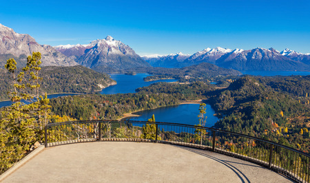 Cerro Campanario viewpoint near Bariloche in Nahuel Huapi National Park, Patagonia region in Argentina. Stock Photo