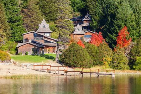 Beauty houses on Nahuel Huapi Lake near Bariloche, Patagonia region in Argentina.