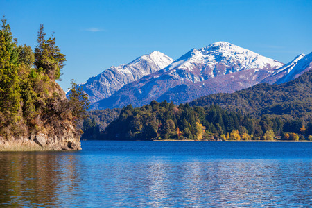mount tronador: Tronador Mountain and Nahuel Huapi Lake, Bariloche. Tronador is an extinct stratovolcano in the southern Andes, located near the Argentine city of Bariloche. Stock Photo