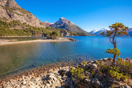 nahuel: Beauty lake and mountains landscape in Nahuel Huapi National Park, located near Bariloche, Patagonia region in Argentina.