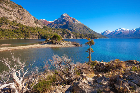 Beauty lake and mountains landscape in Nahuel Huapi National Park, located near Bariloche, Patagonia region in Argentina.