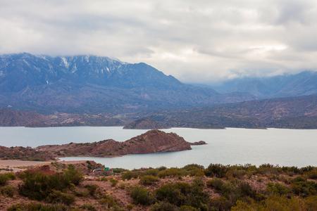 Potrerillos Dam is located on the Mendoza River in Argentina Potrerillos Valley.