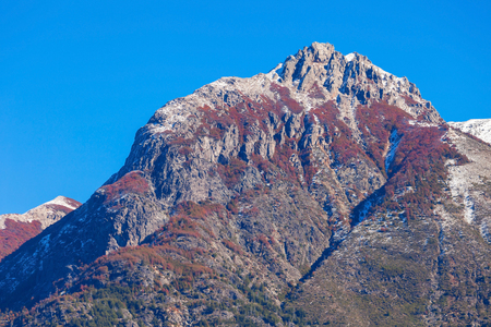 nahuel: Tronador Mountain and Nahuel Huapi Lake, Bariloche. Tronador is an extinct stratovolcano in the southern Andes, located near the Argentine city of Bariloche. Stock Photo