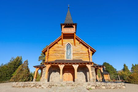 Capilla San Eduardo Church on Circuito Chico route in Nahuel Huapi National Park near Bariloche, Patagonia region in Argentina.