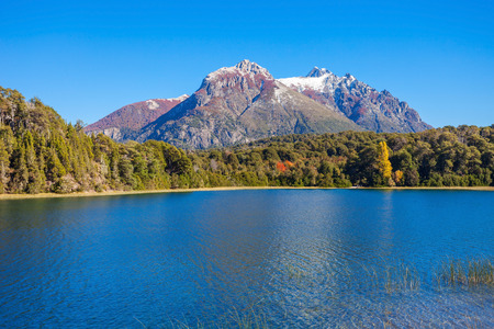 Tronador Mountain and Nahuel Huapi Lake, Bariloche. Tronador is an extinct stratovolcano in the southern Andes, located near the Argentine city of Bariloche. Stock Photo