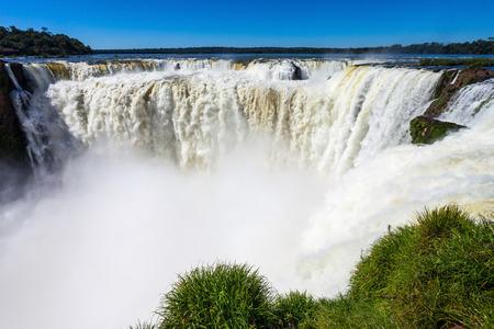 diablo: Devils Throat (Garganta del Diablo) is the biggest of the Iguazu Waterfalls Stock Photo