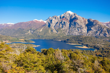 nahuel: Nahuel Huapi National Park aerial view from the Cerro Campanario viewpoint in Bariloche, Patagonia region in Argentina. Stock Photo