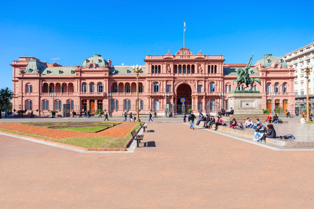 peron: BUENOS AIRES, ARGENTINA - MAY 03, 2016: La Casa Rosada or The Pink House is the executive mansion and office of the President of Argentina, located in Buenos Aires, Argentina.