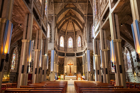 BARILOCHE, ARGENTINA - APRIL 27, 2016: Cathedral of San Carlos de Bariloche interior. It is located in Bariloche, Patagonia region in Argentina.