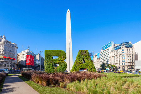 BUENOS AIRES, ARGENTINA - APRIL 14, 2016: Buenos Aires sign and Obelisco in Buenos Aires in Argentina. The Obelisk of Buenos Aires is a national historic monument and icon of Buenos Aires.