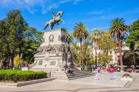 CORDOBA, ARGENTINA - APRIL 30, 2016: General Jose de San Martin monument on Plaza San Martin square in Cordoba, Argentina. Jose de San Martin is a hero of the Argentine War of Independence.
