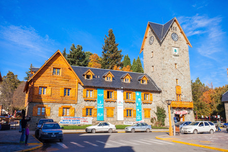 BARILOCHE, ARGENTINA - APRIL 27, 2016: Bariloche Civic Centre (El Centro Civico) in the centre of Bariloche, Patagonia region in Argentina.