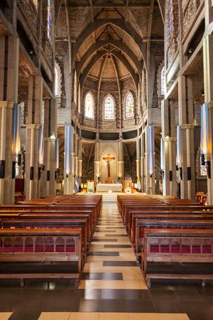 bariloche: BARILOCHE, ARGENTINA - APRIL 27, 2016: Cathedral of San Carlos de Bariloche interior. It is located in Bariloche, Patagonia region in Argentina.