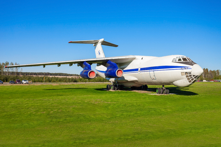 MINSK, BELARUS - MAY 05, 2016: The Ilyushin Il-76 aircraft in the open air museum of old civil aviation near Minsk airport. Il-76 is a strategic airlifter designed by the Ilyushin design bureau. Redakční