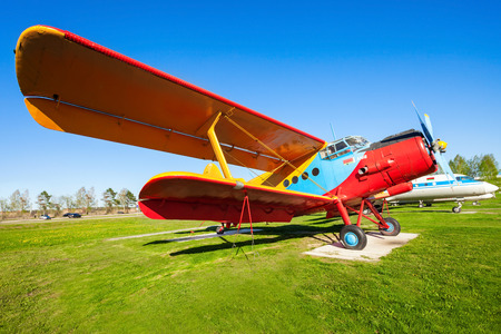 MINSK, BELARUS - MAY 05, 2016: The Antonov An-2 aircraft in the open air museum of old civil aviation near Minsk airport. An-2 is a Soviet biplane aircraft designed by the Antonov Design Bureau.
