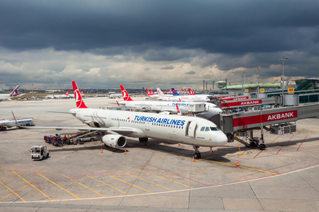 ISTANBUL, TURKEY - MAY 05, 2016: Turkish Airlines aircrafts in the Istanbul Ataturk Airport. Ataturk Airport is the main international airport serving Istanbul, Turkey. Editorial