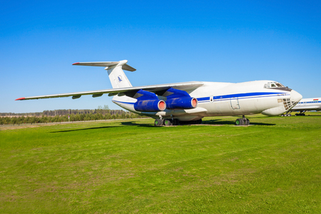 MINSK, BELARUS - MAY 05, 2016: The Ilyushin Il-76 aircraft in the open air museum of old civil aviation near Minsk airport. Il-76 is a strategic airlifter designed by the Ilyushin design bureau. Editorial