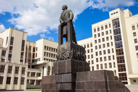 theorist: Vladimir Lenin monument near The House of the Government of the Republic of Belarus in Minsk. Lenin was a Russian communist revolutionary, politician, and political theorist. Editorial