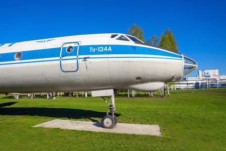 MINSK, BELARUS - MAY 05, 2016: Tupolev Tu-134 aircraft in the open air museum of old civil aviation near Minsk airport. The Tupolev Tu-134 is a twin-engined airliner built in the Soviet Union.