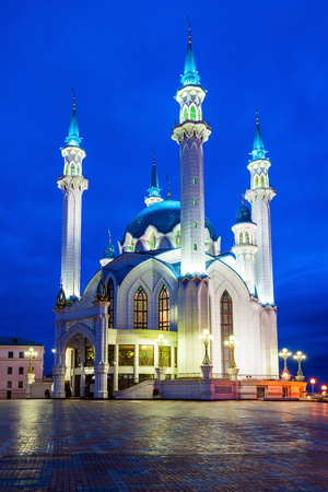 The Kul Sharif Mosque at night. It is a one of the largest mosques in Russia. The Kul Sharif Mosque is located in Kazan city in Russia.