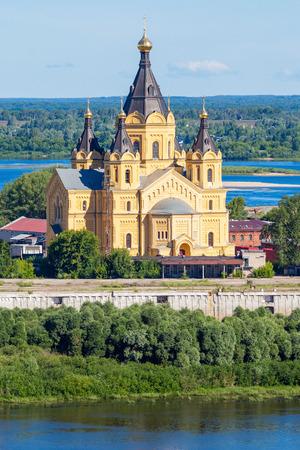 nizhni novgorod: Cathedral of St. Alexander Nevskiy is orthodox church in Nizhny Novgorod, Russia Stock Photo