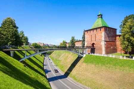 Tower of Nicholas (or Nikolskaya Tower) of Nizhny Novgorod Kremlin. Kremlin is a fortress in the historic city center of Nizhny Novgorod in Russia. Stock Photo