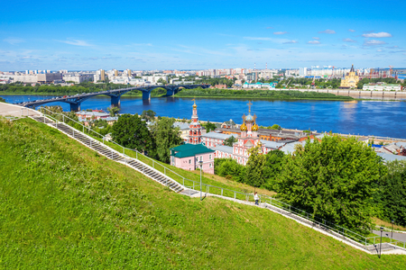 Cathedral Church of the Holy Blessed Virgin Mary in Nizhny Novgorod. Nizhny Novgorod is the fifth largest city in Russia. Stock Photo