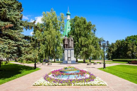Monument to Prince Yury Vsevolodovich and Bishop Simon of Suzdal near the Michael the Archangel Cathedral in the Nizhny Novgorod Kremlin, Russia.