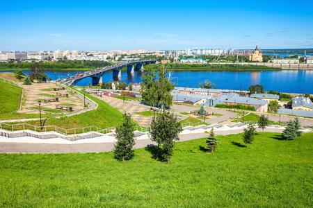 nizhni novgorod: Fedorovsky Embankment aerial panoramic view in Nizhny Novgorod. Nizhny Novgorod is the fifth largest city in Russia and the center of Nizhny Novgorod Oblast.
