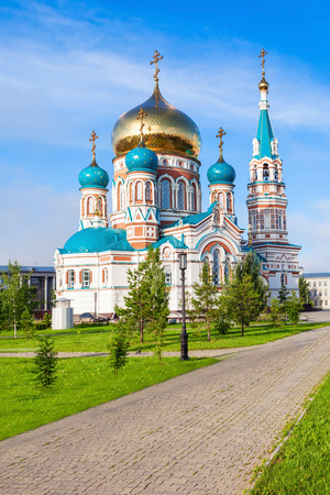 sobor: The Dormition Cathedral (Uspensky or Uspenskiy Sobor) in Omsk is one of the largest churches in Siberia, Russia Stock Photo