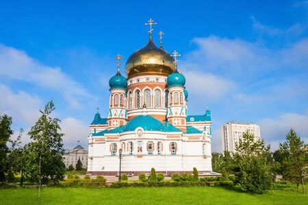 sobor: The Dormition Cathedral (Uspensky or Uspenskiy Sobor) in Omsk is one of the largest churches in Siberia, Russia Editorial