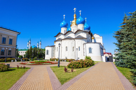 Annunciation Cathedral of Kazan Kremlin is the first Orthodox church of the Kazan Kremlin. The Kazan Kremlin is the chief historic citadel of Tatarstan, Russia. Editorial