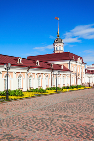The Main Eastern housing of the Artillery Court of the Kazan Kremlin. The Kazan Kremlin is the chief historic citadel of Tatarstan, situated in the city of Kazan. Editorial
