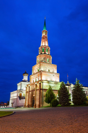 Suyumbike Tower also called the Khans Mosque at night, the Kazan Kremlin in Russia. Suyumbike Tower the most familiar landmark and architectural symbol of Kazan Kremlin.